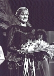 b/w photo 1982 winning Ford contest with bouquet 1