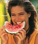 """Souriez..."" eating melon - french ELLE TopModel 4-98 #21 by Gilles Bensimon"