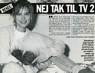 b/w at home with plush dog - danish Billed Bladet 2-1990