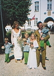 wedding photo taken by Julie Aug. 2000 - with the kids before the church 2